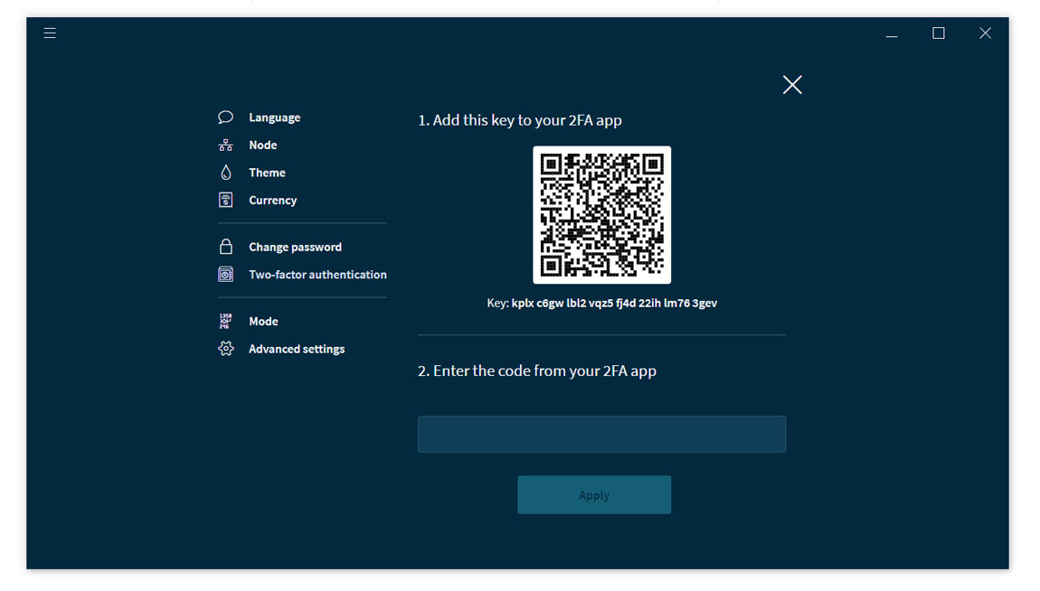 IOTA Wallet 2-Factor-Authentication