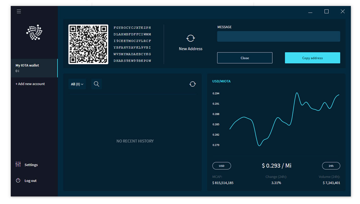 IOTA Wallet receive coins