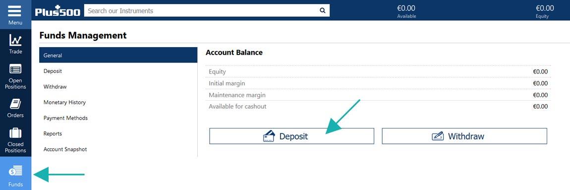 Deposit money on Plus500