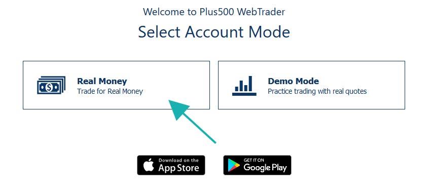 Plus500 Choose Real Money account