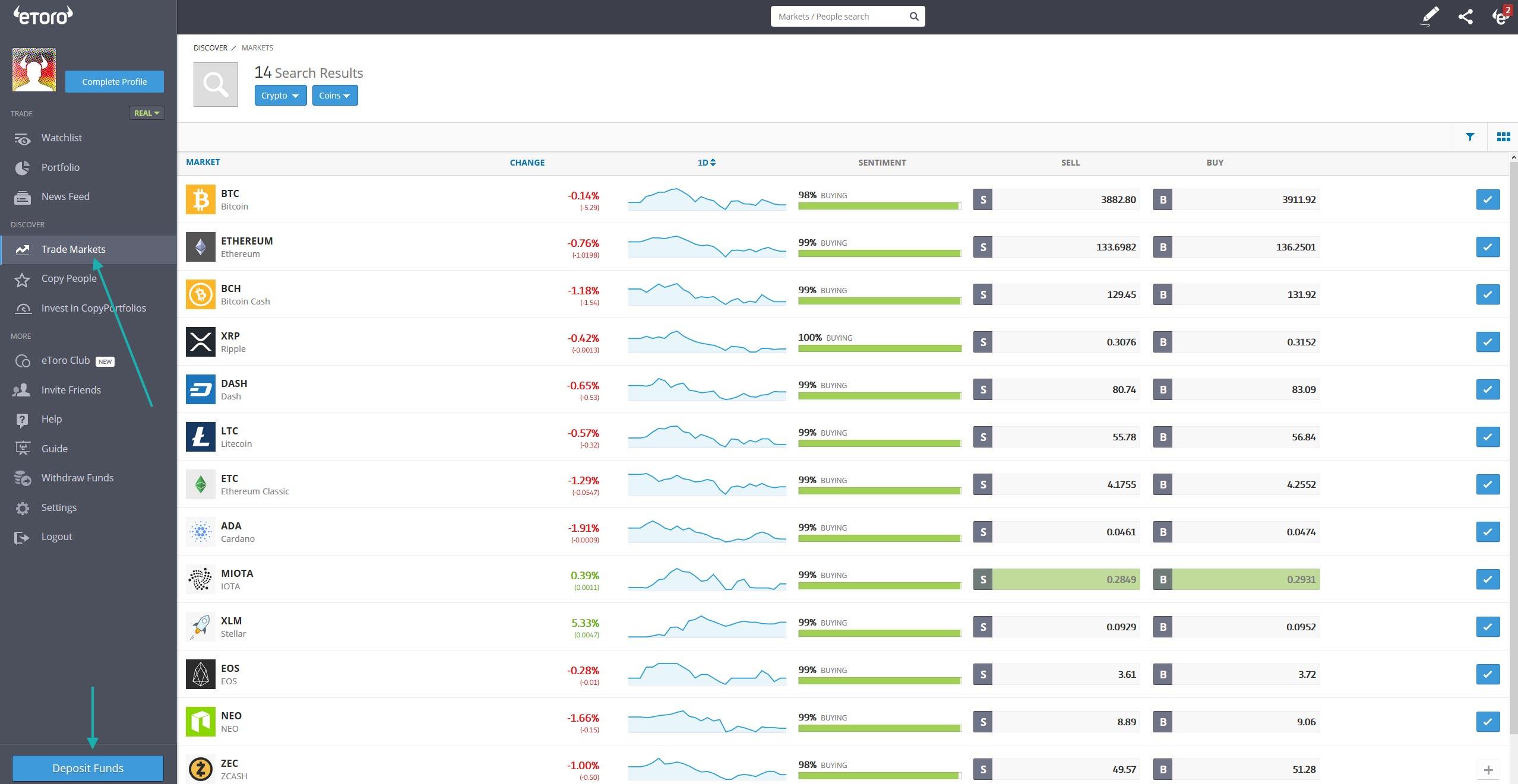 eToro crypto trading interface